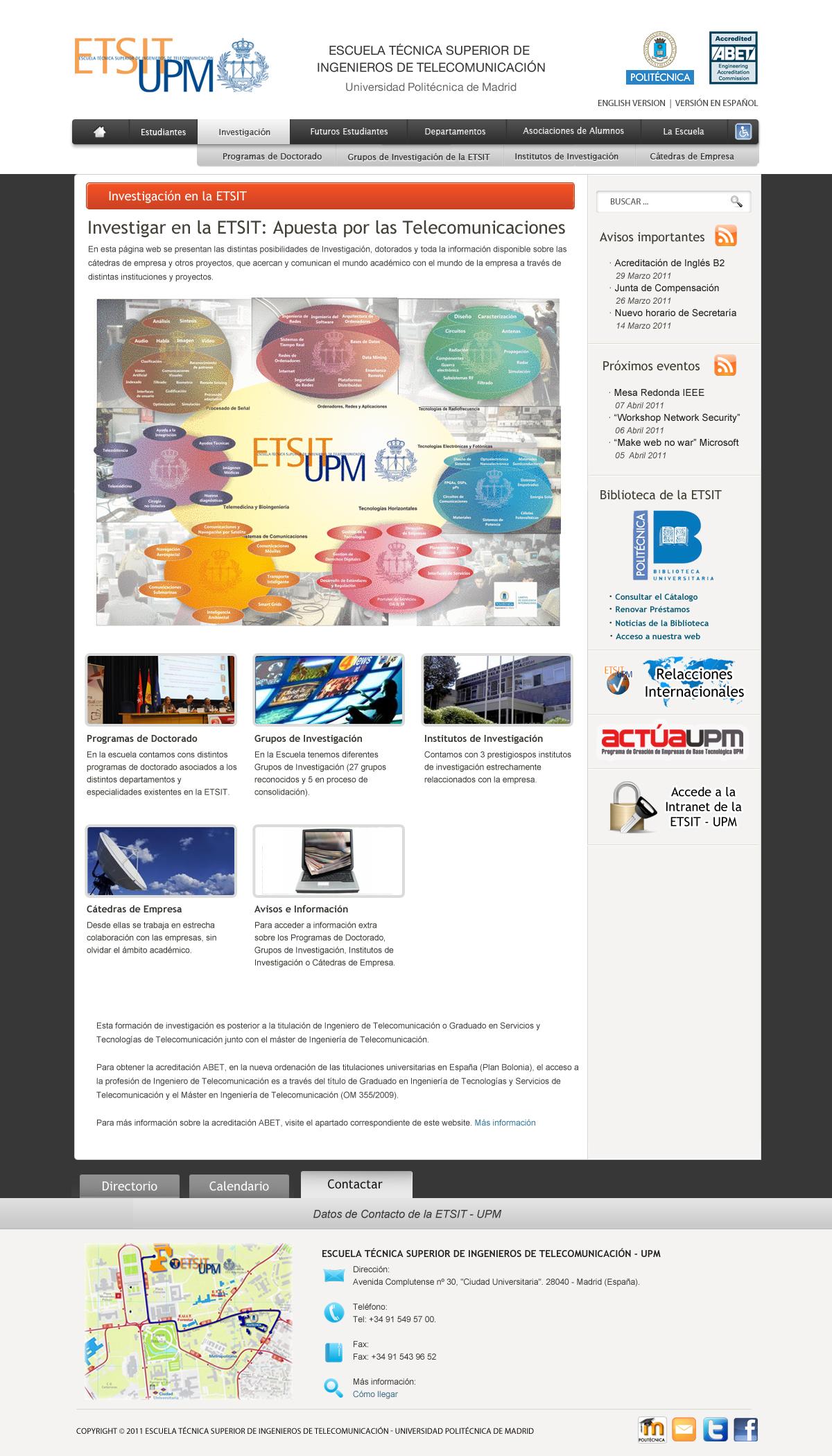 Calendario Etsit.Diseno Para La Web De La Etsit Propuesta 3 Etsit Ideasweb